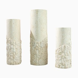 Postmodern Travertine Architectural Columns, 1970s, Set of 3