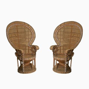 Rattan Dining Chairs, 1970s, Set of 2