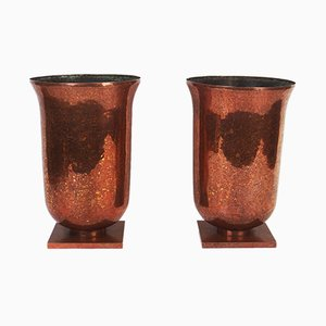 Art Deco Copper Vases, 1930s, Set of 2