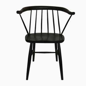 Mid-Century Black-Stained Beech Armchair by Ilmari Tapiovaara