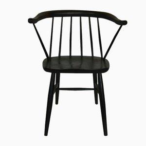 Schwarz gebeizter Mid-Century Armlehnstuhl aus Buche von Ilmari Tapiovaara