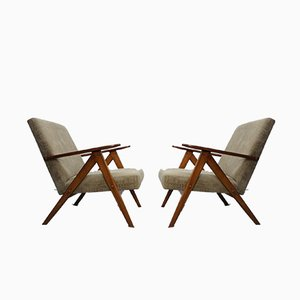 Mid-Century Dark Cappuccino Velvet Model B310 Var Armchairs, 1960s, Set of 2