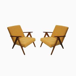 Mid-Century Yellow Velvet Model B310 Var Armchairs, 1960s, Set of 2