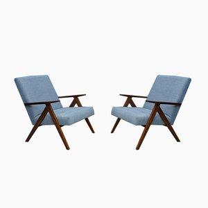 Mid-Century Light Blue Velvet Model B310 Var Armchairs, 1960s, Set of 2