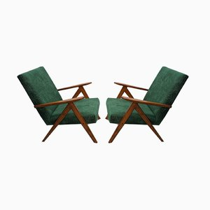 Mid-Century Dark Green Velvet Model B310 Var Armchairs, 1960s, Set of 2