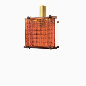 Danish Rosewood and Glass Pendant Lamp, 1960s