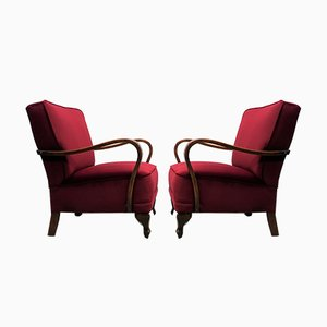 Art Deco Burgundy Velvet Armchairs, 1940s, Set of 2