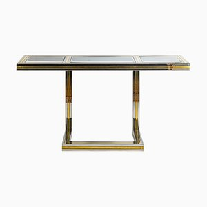Vintage Italian Brass, Chrome, and Glass Console Table