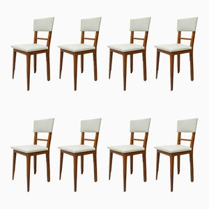 Portugese Beech Dining Chairs from Albar Portuguese, 1950s, Set of 8
