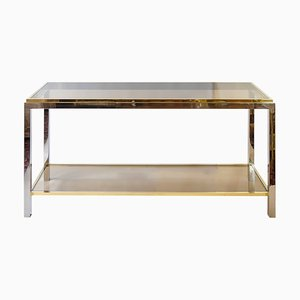 Vintage Metal and Glass Console Table