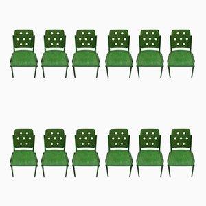 Grüne Mid-Century Esszimmerstühle von Franz Schuster für Wiesner Hager, 1950er, 12er Set