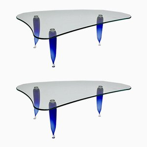 Vintage Italian Blue Glass Coffee Tables from Seguso, 1980s, Set of 2