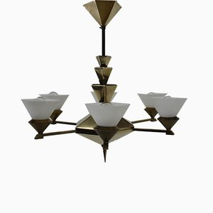 Brass Cubist Chandelier by Franta Anyz for IAS, 1920s