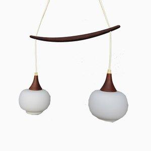 Scandinavian Teak & Opal Glass Ceiling Lamp, 1950s