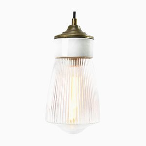 Mid-Century White Porcelain and Brass Pendant Lamp from Holophane