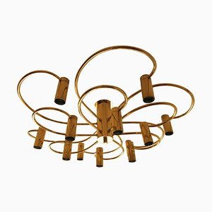 2-Tiered Brass Spiral Chandelier from Honsel, 1960s