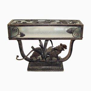Französische Art Déco Tischlampe aus Schmiedeeisen von Paul Kiss, 1930er
