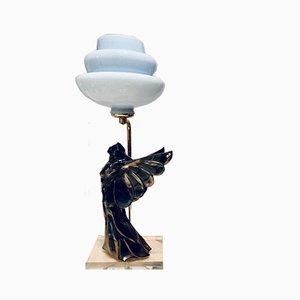 Art Nouveau Style Ceramic Table Lamp, 1980s