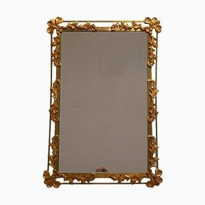 Espejo Mid-Century de hierro dorado con decoración floral