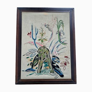 Framed Silk Screen Wall Art, 1920s