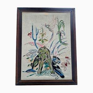 Framed Silk Screen Wall Art, 1920s