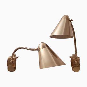 Mid-Century Tischlampen aus Messing, 2er Set