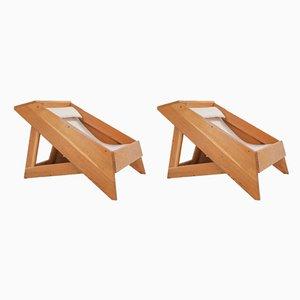 Italienische Sessel mit Gestell aus Kiefernholz, 1960er, 2er Set
