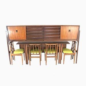 Juego de butaca, mesa de comedor y sillas vintage de Elliots of Newbury, años 70