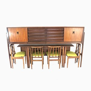 Vintage Credenza, Dining Table and Chairs Set from Elliots of Newbury, 1970s