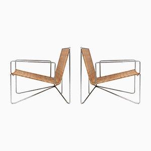 Armlehnstühle aus Rattan & Stahl von De Ster Gelderland, 1964, 2er Set