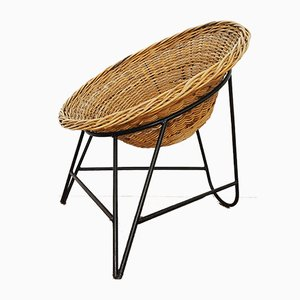 Italian Wicker Lounge Chair, 1950s