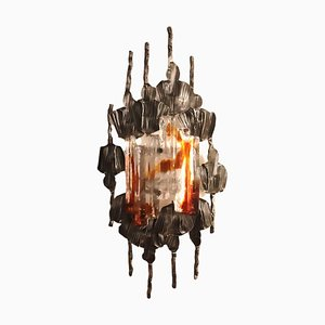 Brutalist Iron & Glass Sconce, 1960s