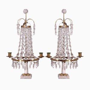 Schwedische Kerzenständer aus Messing, Glas & Marmor, 19. Jh., 2er Set