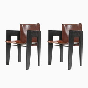 Oak and Leather Dining Chairs, 1980s, Set of 2
