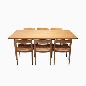 Chaises de Salle à Manger et Set de Table par Niels Otto Møller pour J.L. Møllers, années 70, Set de 7