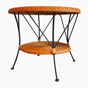 Rattan and Metal Coffee Table, 1960s