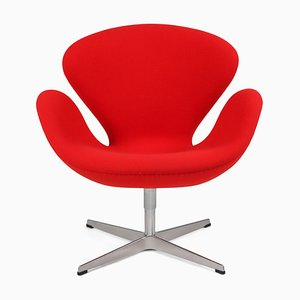 Red Swan Armchair by Arne Jacobsen for Fritz Hansen, 1950s
