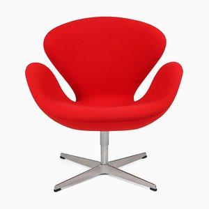 Roter Swan Sessel von Arne Jacobsen für Fritz Hansen, 1950er