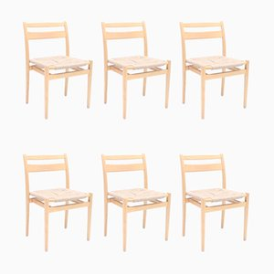 Scandinavian Birch and Rope Stacking Chairs, 1960s, Set of 6