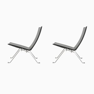 Black Leather Model PK22 Lounge Chairs by Poul Kjærholm for Fritz Hansen, 2009, Set of 2