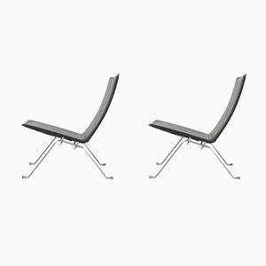 Black Leather Model PK22 Lounge Chairs by Poul Kjærholm for Fritz Hansen, 2009, Set of 2
