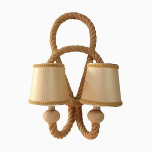French Rope Sconce by Adrien Audoux & Frida Minet, 1950s