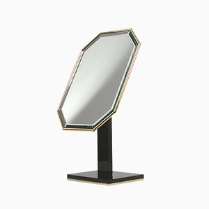 Mid-Century Black Plexiglass and Brass Mirror from Chanel, 1960s