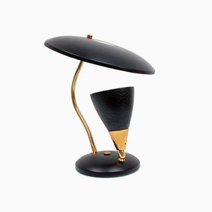 Schwarze französische Mid-Century Tischlampe, 1950er