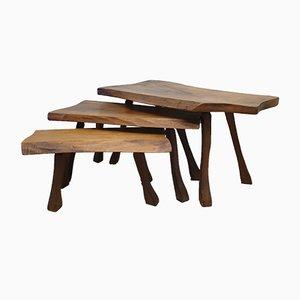 Tables Gigognes Scandinaves en Chêne, années 60