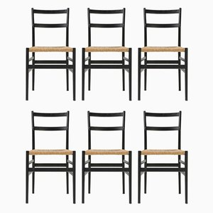 Black Ash and Rope Dining Chairs by Gio Ponti for Cassina, 1980s, Set of 6