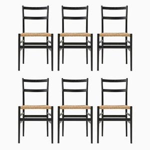 Esszimmerstühle aus schwarzem Eschenholz & Seil von Gio Ponti für Cassina, 1980er, 6er Set