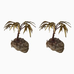 Brass Palm Tree Sculptures by Daniel d'Haeseleer, 1970s, Set of 2