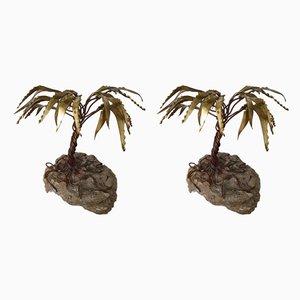 Esculturas palmera de latón de Daniel d'Haeseleer, años 70. Juego de 2