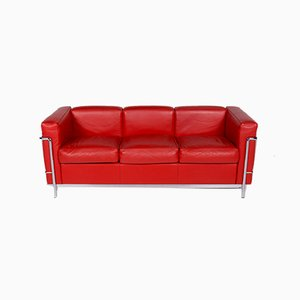 Vintage Leather Model LC 2 3-Seater Sofa by Le Corbusier